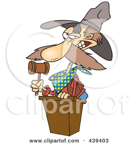 Royalty-Free (RF) Clip Art Illustration of a Cartoon Cowboy Auctioneer by toonaday