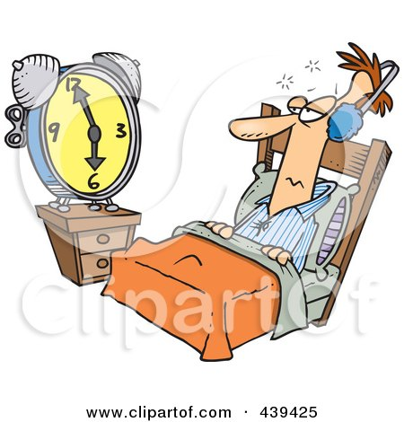 Royalty-Free (RF) Clip Art Illustration of a Cartoon Black And White Outline Design Of A Man Tuning Out An Alarm Clock With Ear Muffs by toonaday