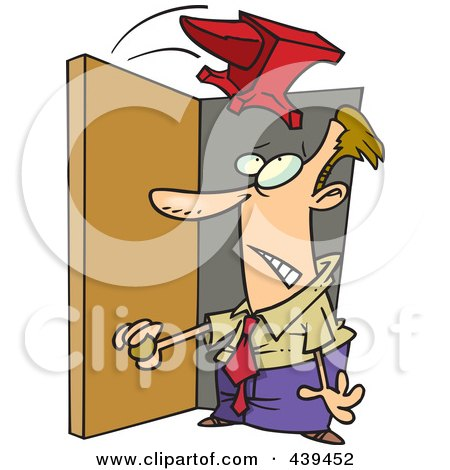 Royalty-Free (RF) Clip Art Illustration of a Cartoon Anvil Falling On A Businessman In A Doorway by toonaday