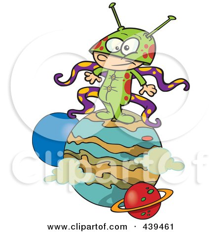 Royalty-Free (RF) Clip Art Illustration of a Cartoon Boy Alien On A Planet by toonaday