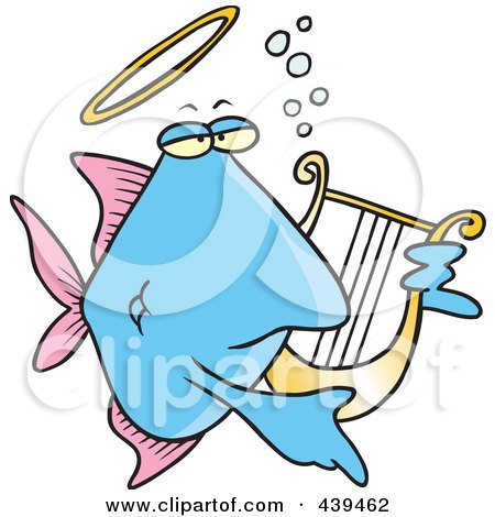 Royalty-Free (RF) Clip Art Illustration of a Cartoon Angelfish Playing A Lyre by toonaday