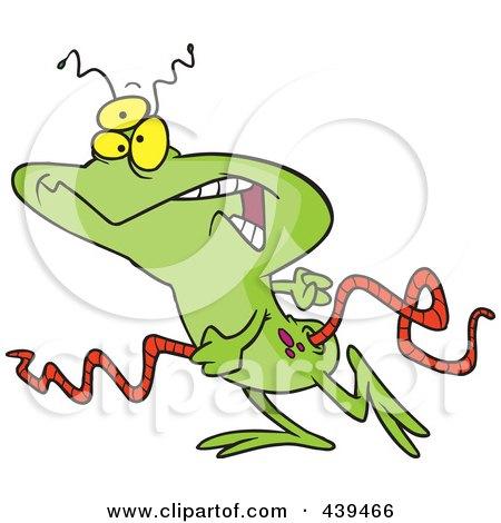 Royalty-Free (RF) Clip Art Illustration of a Cartoon Walking Alien by toonaday