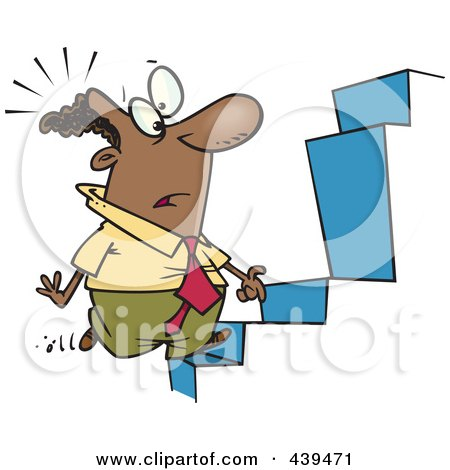 Royalty-Free (RF) Clip Art Illustration of a Cartoon Black Businessman Noticing An Anomaly In Steps by toonaday