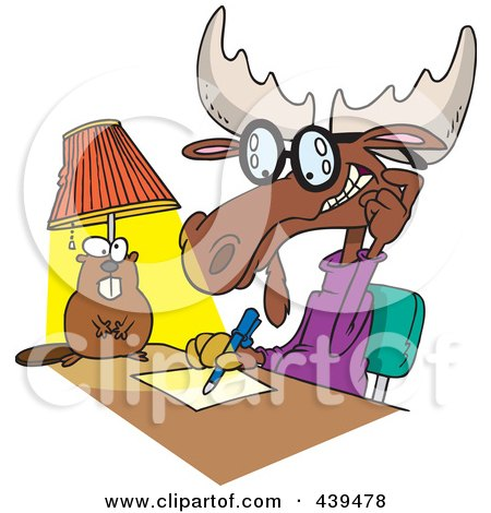 Royalty-Free (RF) Clip Art Illustration of a Cartoon Moose Writing An Anonymous Letter by toonaday