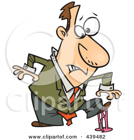 Royalty-Free (RF) Clip Art Illustration of a Cartoon Businessman In A Sticky Situation by toonaday