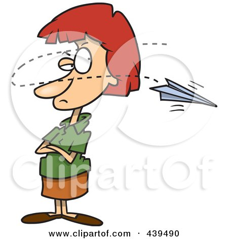 Royalty-Free (RF) Clip Art Illustration of a Cartoon Paper Plane Annoying A Businesswoman by toonaday