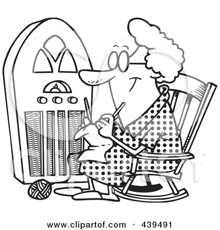 Royalty-Free (RF) Clip Art Illustration of a Cartoon Black And White Outline Design Of A Granny Knitting By A Radio by toonaday