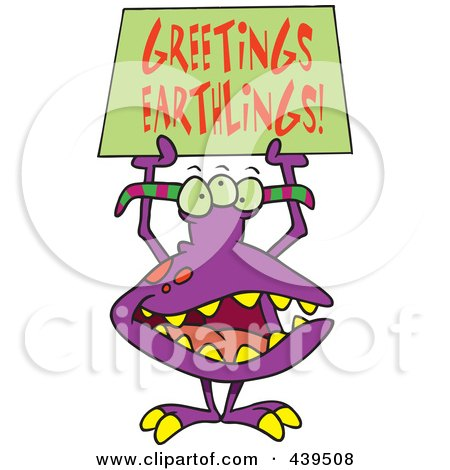 Royalty-Free (RF) Clip Art Illustration of a Cartoon Greeting Alien by toonaday