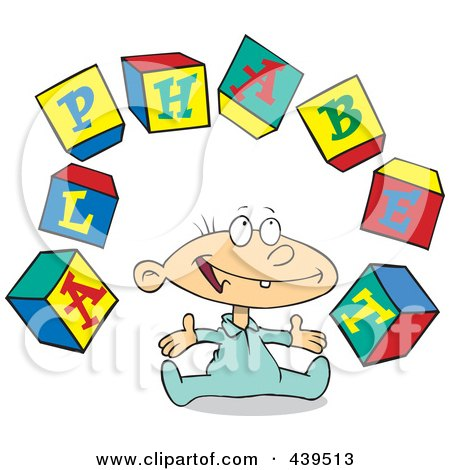 Royalty-free clipart picture of a baby playing with alphabet blocks,