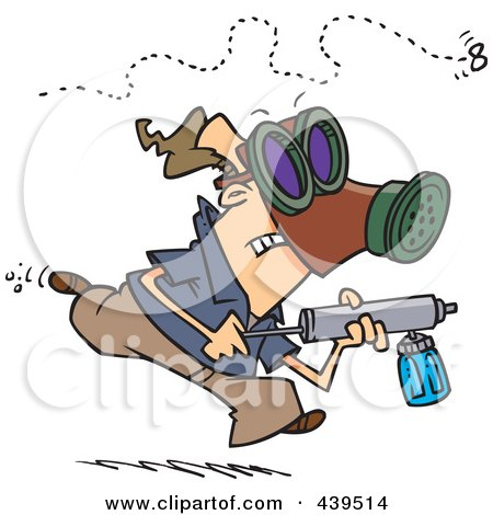 Royalty-Free (RF) Clip Art Illustration of a Cartoon Man Chasing Down An Annoying Fly With Bug Spray by toonaday