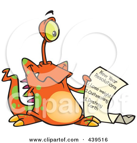 Royalty-Free (RF) Clip Art Illustration of a Cartoon New Year Resolution Alien by toonaday