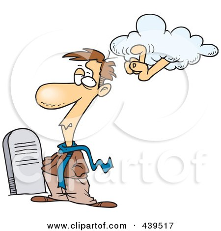 Royalty-Free (RF) Clip Art Illustration of a Cartoon Ancestral Cloud Tapping A Man In A Graveyard by toonaday