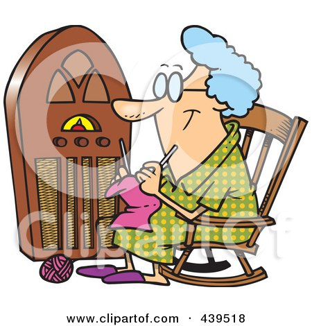 Royalty-Free (RF) Clip Art Illustration of a Cartoon Granny Knitting By A Radio by toonaday