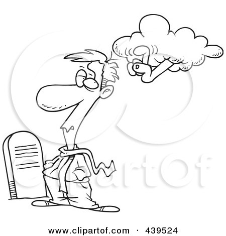 Royalty-Free (RF) Clip Art Illustration of a Cartoon Black And White Outline Design Of An Ancestral Cloud Tapping A Man In A Graveyard by toonaday