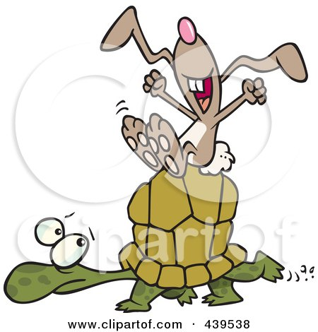 Royalty-Free (RF) Clip Art Illustration of a Cartoon Lazy Hare Riding On A Tortoise by toonaday