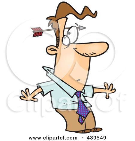 Royalty-Free (RF) Clip Art Illustration of a Cartoon Arrow Through A Stunned Businessman's Head by toonaday