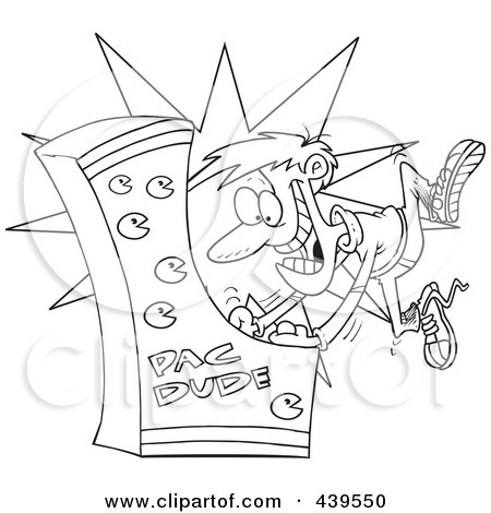 Royalty-Free (RF) Clip Art Illustration of a Cartoon Black And White Outline Design Of A Man Playing An Arcade Game by toonaday