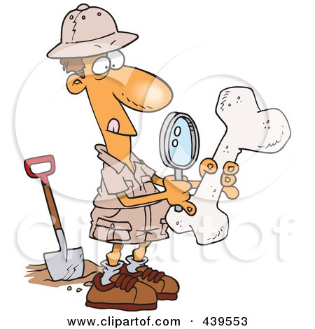 Royalty-Free (RF) Clip Art Illustration of a Cartoon Male Archaeologist Inspecting A Bone by toonaday