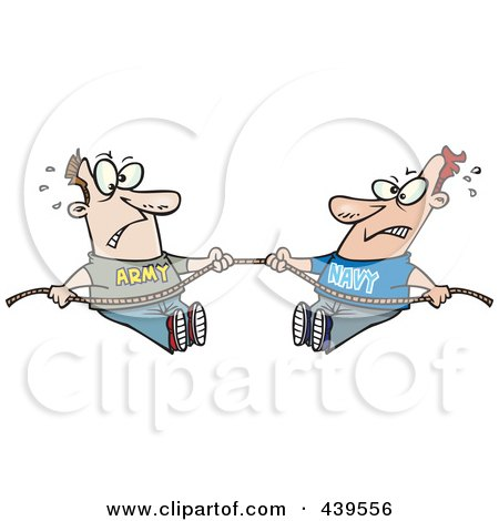 Royalty-Free (RF) Clip Art Illustration of Cartoon Army And Navy Men Playing Tug Of War by toonaday