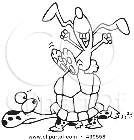 Royalty-Free (RF) Clip Art Illustration of a Cartoon Black And White Outline Design Of A Lazy Hare Riding On A Tortoise by toonaday