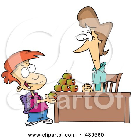Royalty-Free (RF) Clip Art Illustration of a Cartoon School Boy Adding To The Pyramid Of Apples On His Teacher's Desk by toonaday