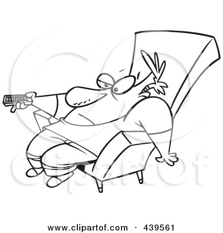 Royalty-Free (RF) Clip Art Illustration of a Cartoon Black And White Outline Design Of A Bored Man Slumped In A Chair And Holding A Remote Control by toonaday