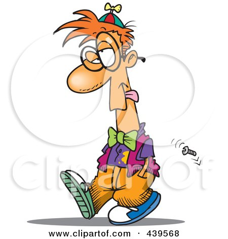 Royalty-Free (RF) Clip Art Illustration of a Cartoon Walking Fool by toonaday