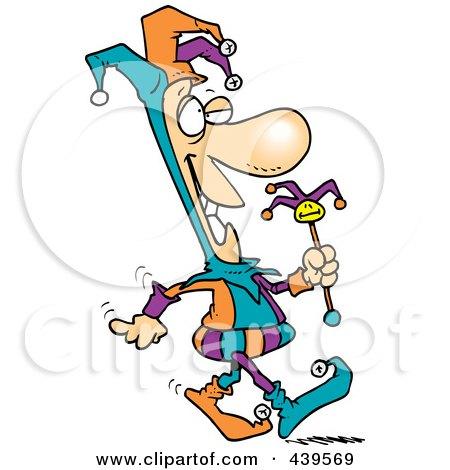 Royalty-Free (RF) Clip Art Illustration of a Cartoon Fool Walking by toonaday