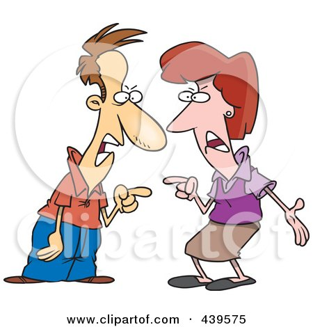 Royalty-Free (RF) Clip Art Illustration of a Cartoon Couple Engaged In An Argument by toonaday