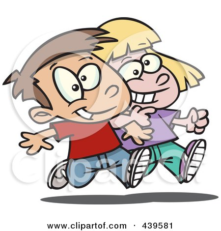 Royalty-Free (RF) Clip Art Illustration of a Cartoon Boy And Girl Walking Arm In Arm by toonaday
