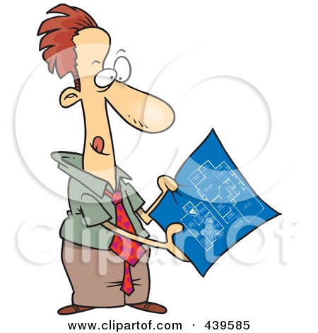 Royalty-Free (RF) Clip Art Illustration of a Cartoon Businessman Examining Blueprints by toonaday
