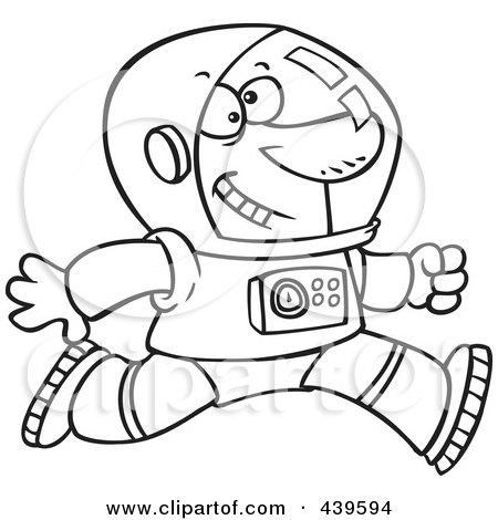Royalty-Free (RF) Clip Art Illustration of a Cartoon Black And White Outline Design Of A Running Astronaut by toonaday