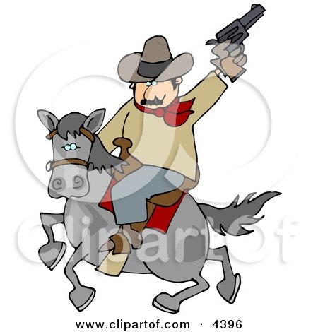 Cowboy Riding Horse While Pointing and Shooting Gun Into the Air Posters, Art Prints