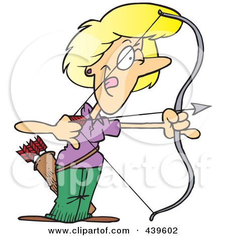 Royalty-Free (RF) Clip Art Illustration of a Cartoon Female Archer Aiming by toonaday