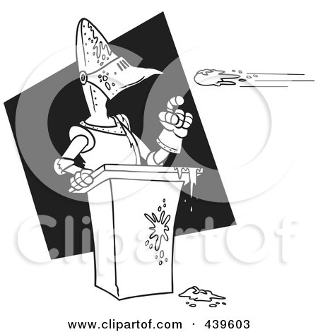Royalty-Free (RF) Clip Art Illustration of a Cartoon Black And White Outline Design Of Tomatoes Flying Towards A Knight by toonaday
