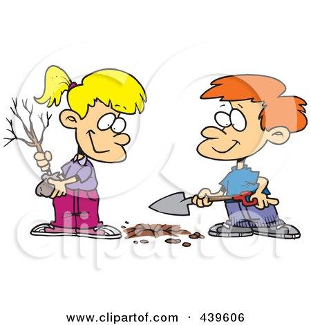 Planting Trees Cartoon Cartoon Boy And Girl Planting