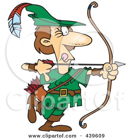 Royalty-Free (RF) Clip Art Illustration of a Cartoon Robin Hood Aiming by toonaday