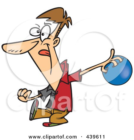 Royalty-Free (RF) Clip Art Illustration of a Cartoon Man Approaching A Bowling Lane by toonaday