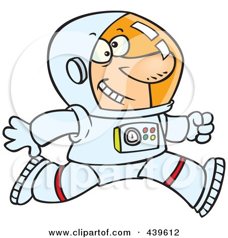 Royalty-Free (RF) Clip Art Illustration of a Cartoon Running Astronaut by toonaday
