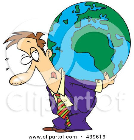 Royalty-Free (RF) Clip Art Illustration of a Cartoon Businessman Carrying A Burden Globe On His Back by toonaday