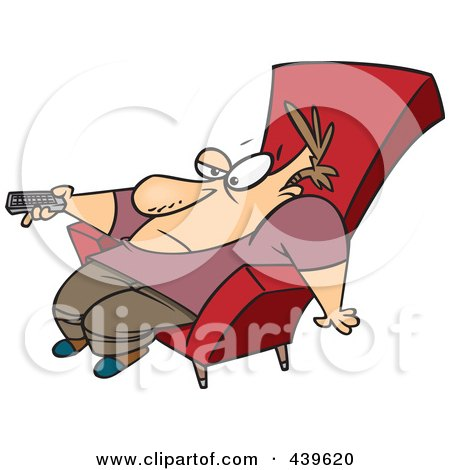Royalty-Free (RF) Clip Art Illustration of a Cartoon Bored Man Slumped In A Chair And Holding A Remote Control by toonaday