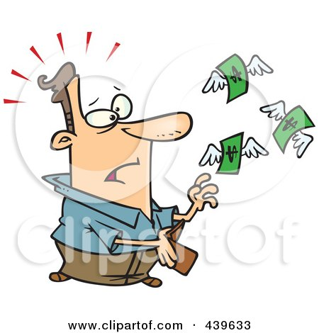 Royalty-Free (RF) Clip Art Illustration of Cartoon Dollars Flying Out Of A Man's Wallet by toonaday
