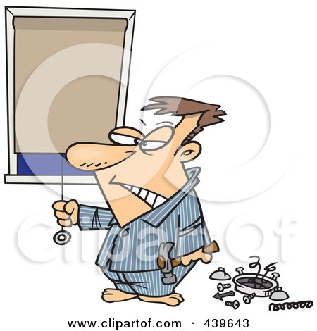 Royalty-Free (RF) Clip Art Illustration of a Cartoon Man Drawing His Shades After Being Woken Up By His Alarm Clock by toonaday