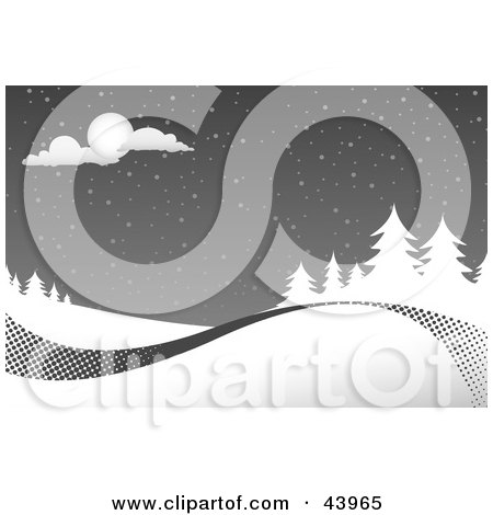 Clipart Illustration of a Gray And White Christmas Snowy Night Scene With A Swoosh Along The Bottom by Arena Creative