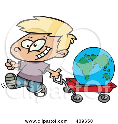Royalty-Free (RF) Clip Art Illustration of a Cartoon Happy Boy Pulling The Globe In A Wagon by toonaday