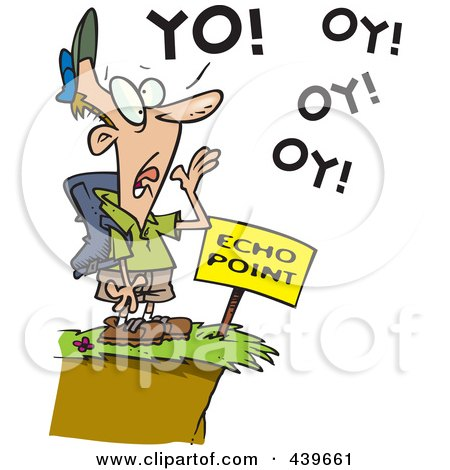 Royalty-Free (RF) Clip Art Illustration of a Cartoon Man Shouting At Echo Point by toonaday
