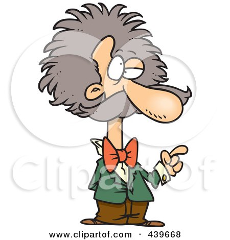 Royalty-Free (RF) Clip Art Illustration of a Cartoon Einstein Gesturing by toonaday