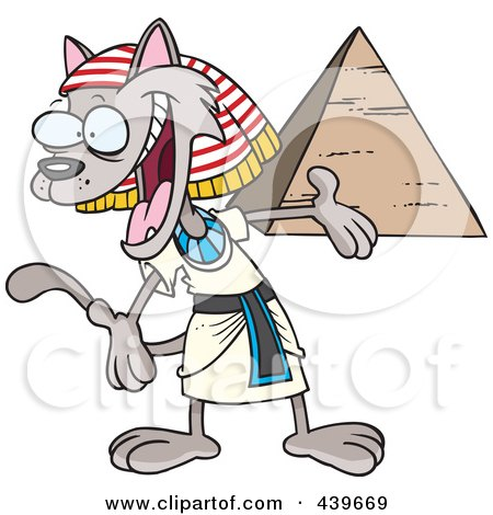 Royalty-Free (RF) Clip Art Illustration of a Cartoon Egyptian Cat Presenting A Pyramid by toonaday