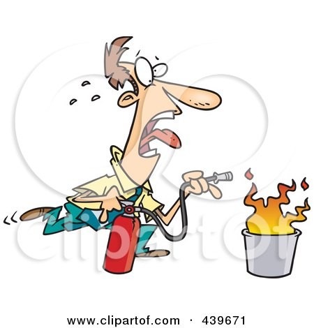 Royalty-Free (RF) Clip Art Illustration of a Cartoon Businessman Extinguishing A Fire by Ron Leishman
