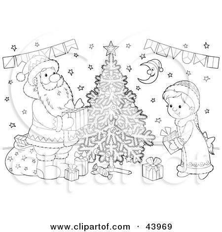 Clipart Illustration of a Black And White Santa Claus And Girl Putting Gifts Under A Christmas Tree Coloring Page by Alex Bannykh